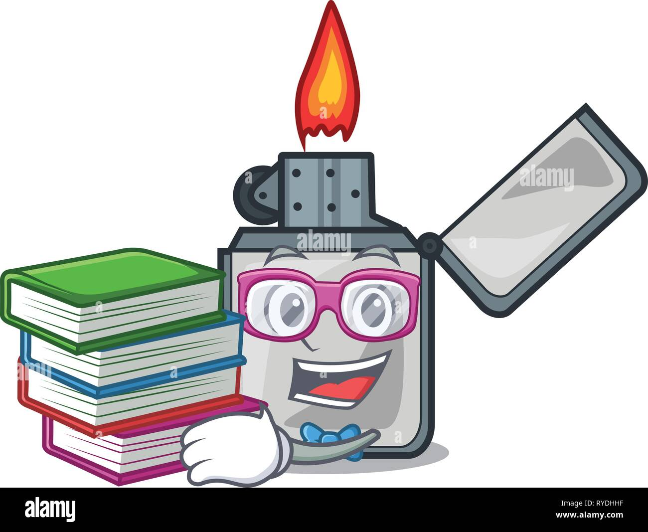 Student with book cigarette lighters are placed cartoon bags - Stock Image