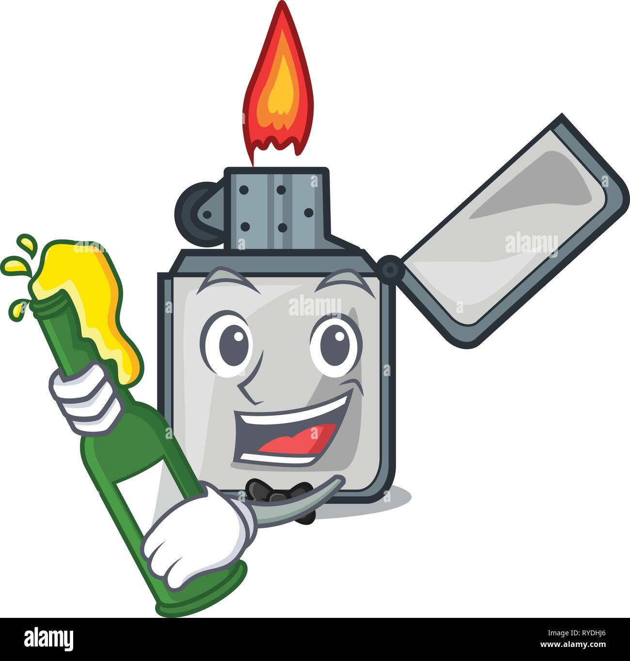 With beer cigarette lighters are placed cartoon bags - Stock Image