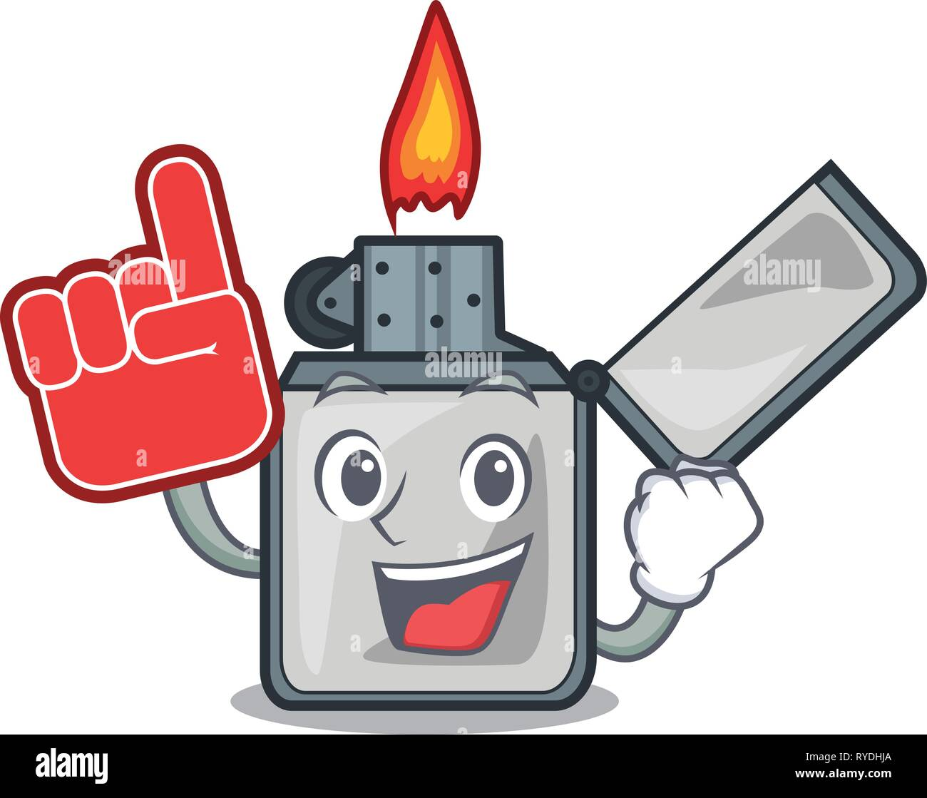 Foam finger cigarette lighters are placed cartoon bags - Stock Image