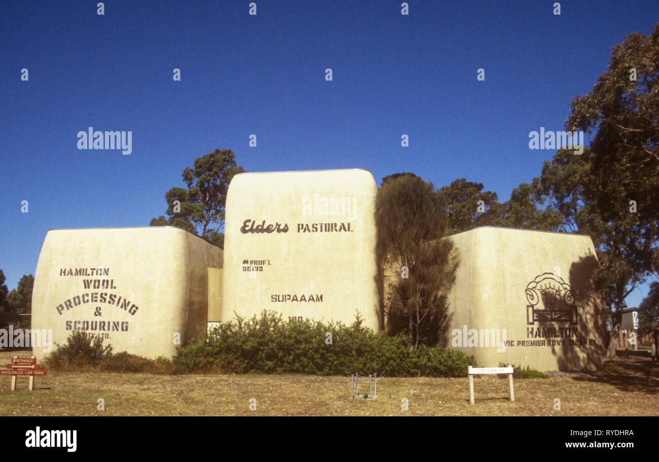 Big Wool Bales, Hamilton, western Victoria, Australia. The business closed in 2013. Stock Photo