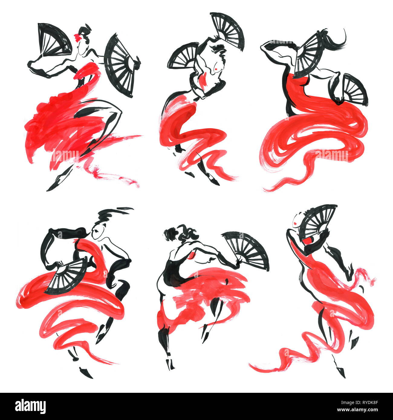 Flamenco. Beautiful Dancing Woman. Watercolor latin dancer. Ink hand painting illustration. - Stock Image