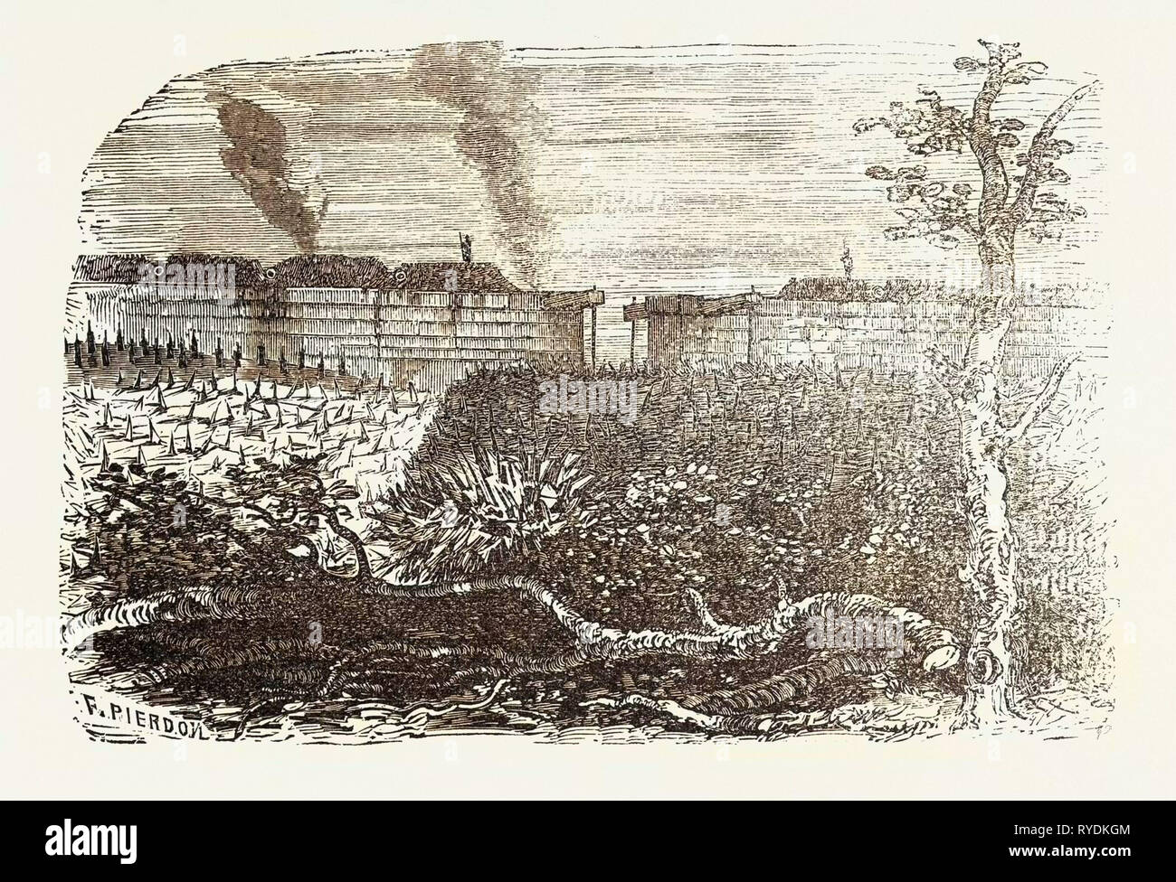 Franco-Prussian War: Obstruction of Individual Gates of the City Walls by Futzangeln, Barbed Wire and Barricades - Stock Image