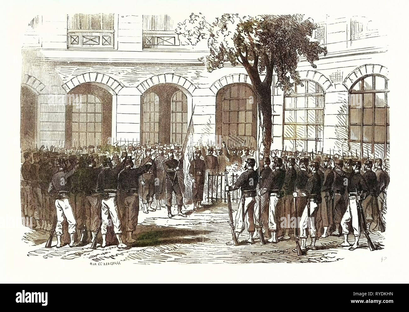 Franco-Prussian War: Francs-Tireurs of Paris Pledge Allegiance to Their Commander Aronsohn and to the Flag, to Conquer or Die. France - Stock Image