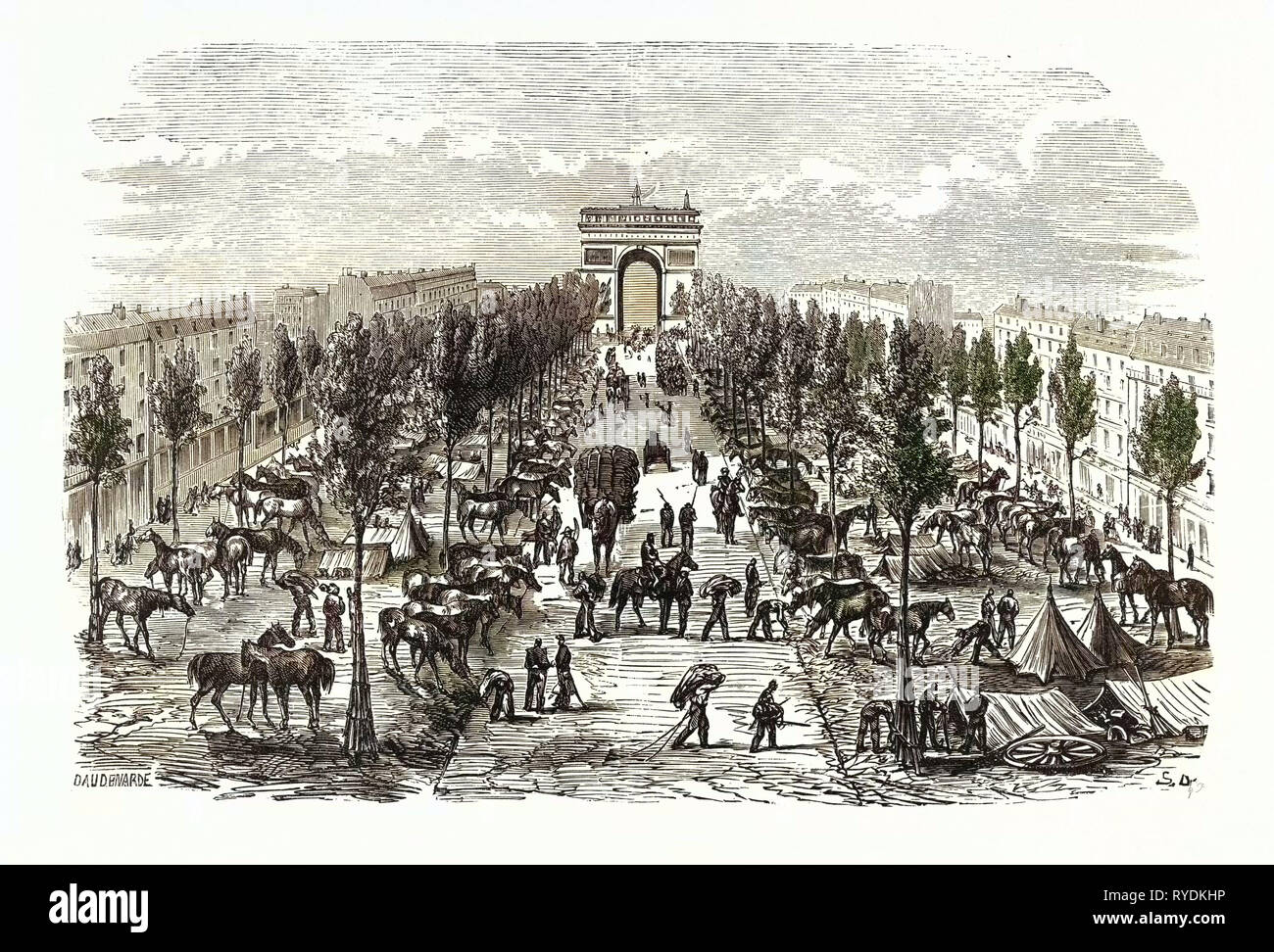 Franco-Prussian War: Artillery and Cavalry Camp on the Avenue of the Great Army, France - Stock Image