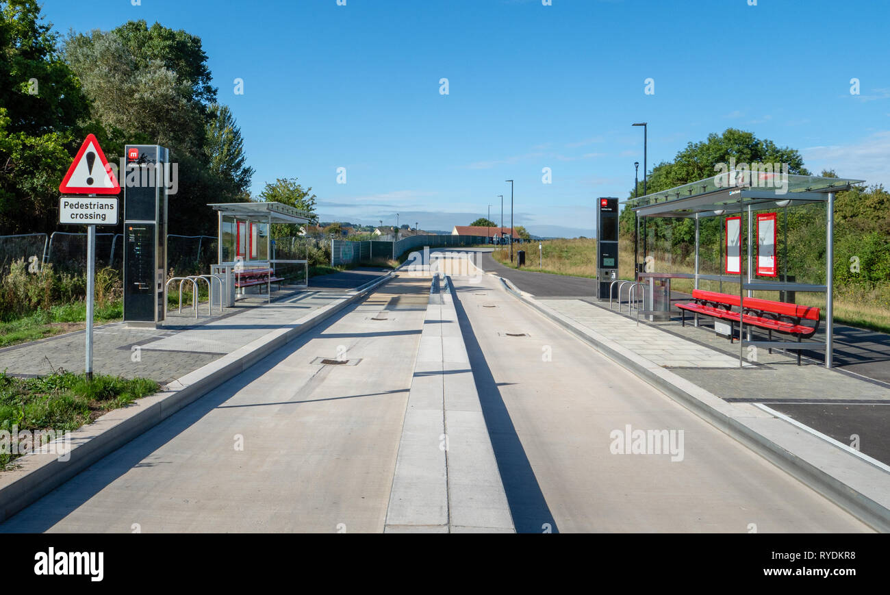 Bristol Metrobus rapid transit system bus stop and ticket pay station on the guided section of the M2 route to the city centre - Bristol UK - Stock Image
