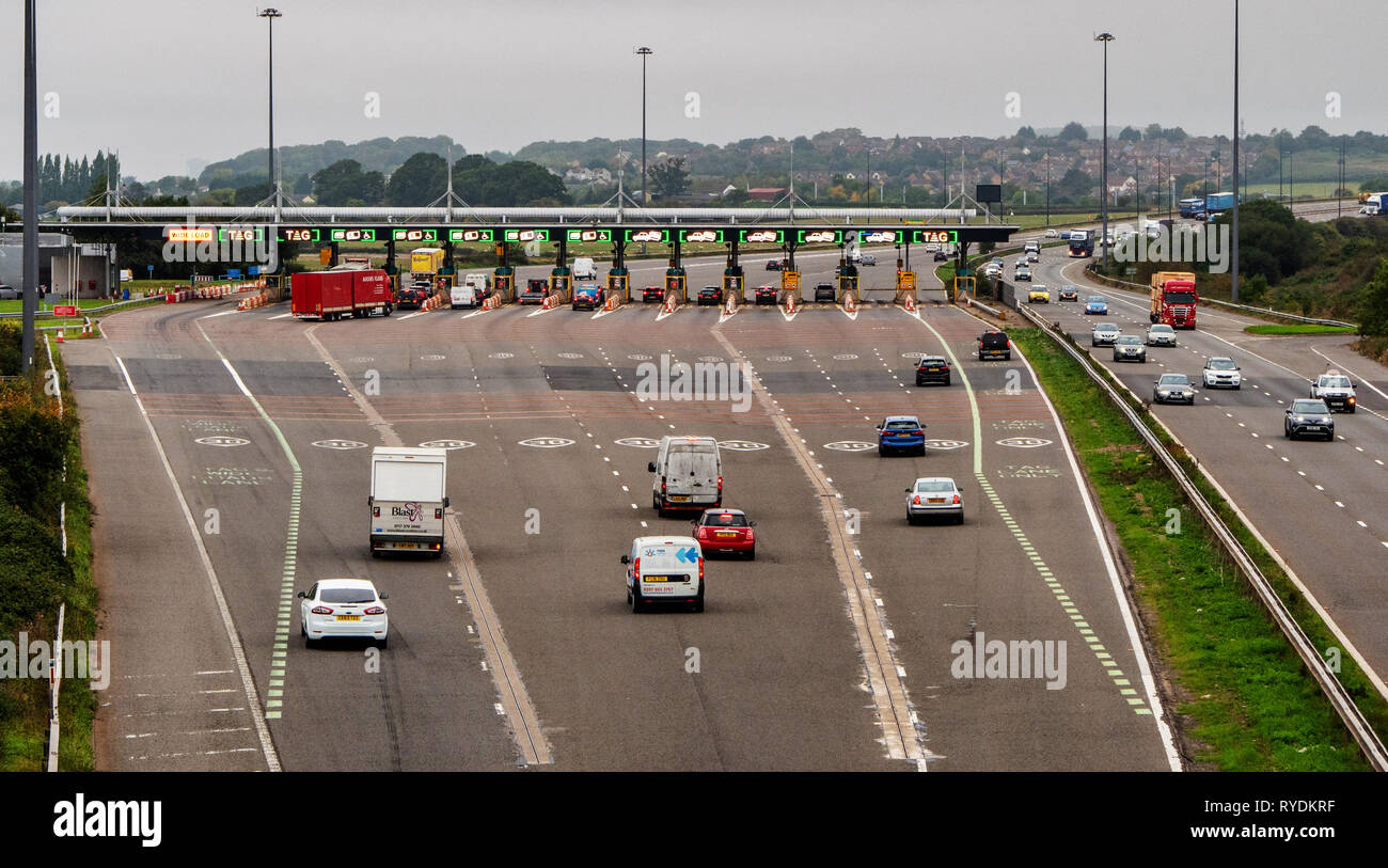 Toll booths beyond the M4 Severn Crossing - the Prince of Wales Bridge - shortly before the journey into Wales became toll free in December 2018 - Stock Image