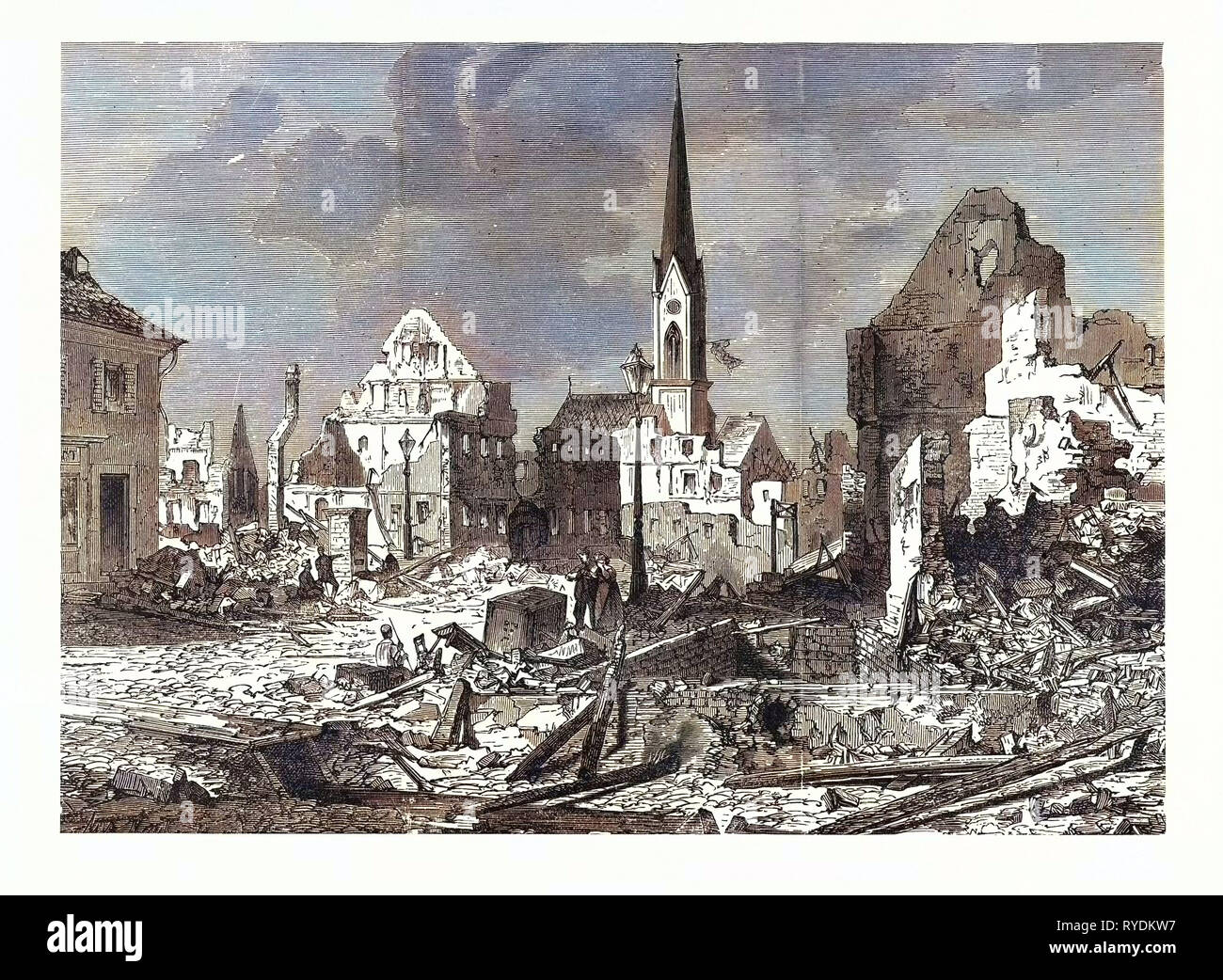 Franco-Prussian War: The Devastation in the Main Street of Kehl, an Open City by, French Batteries Strasbourg. The Best Evidence of How the French Respected International Law, and Their Protests against the Bombing of the City of Paris - Stock Image