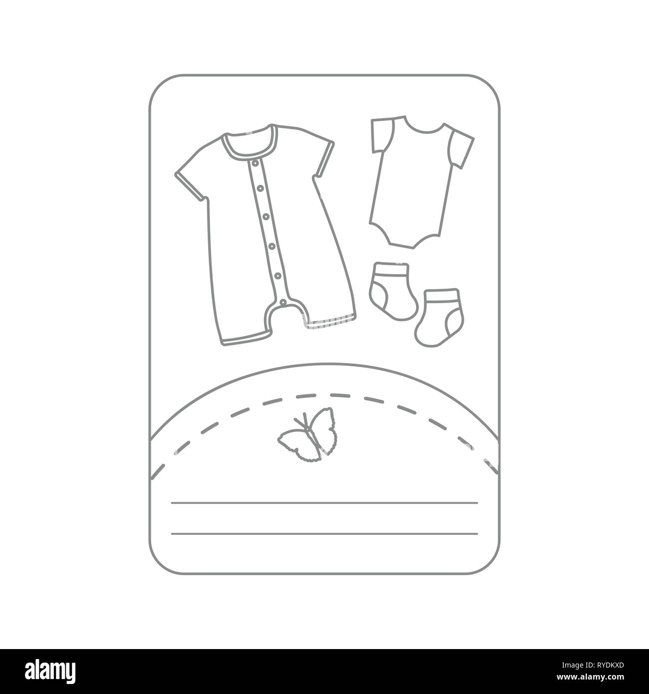 Vector illustration with baby clothes. Slip, socks, bodysuit. Things necessary for newborns. - Stock Image