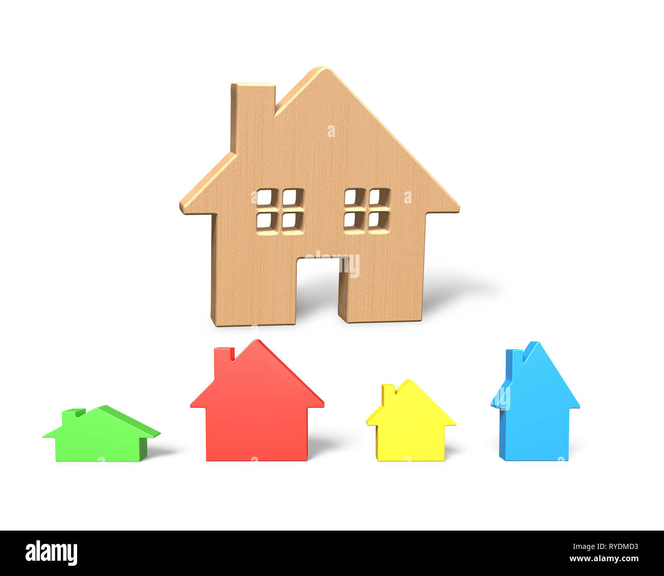 3D illustration, big wooden house with four colorful small houses, isolated on white. Stock Photo