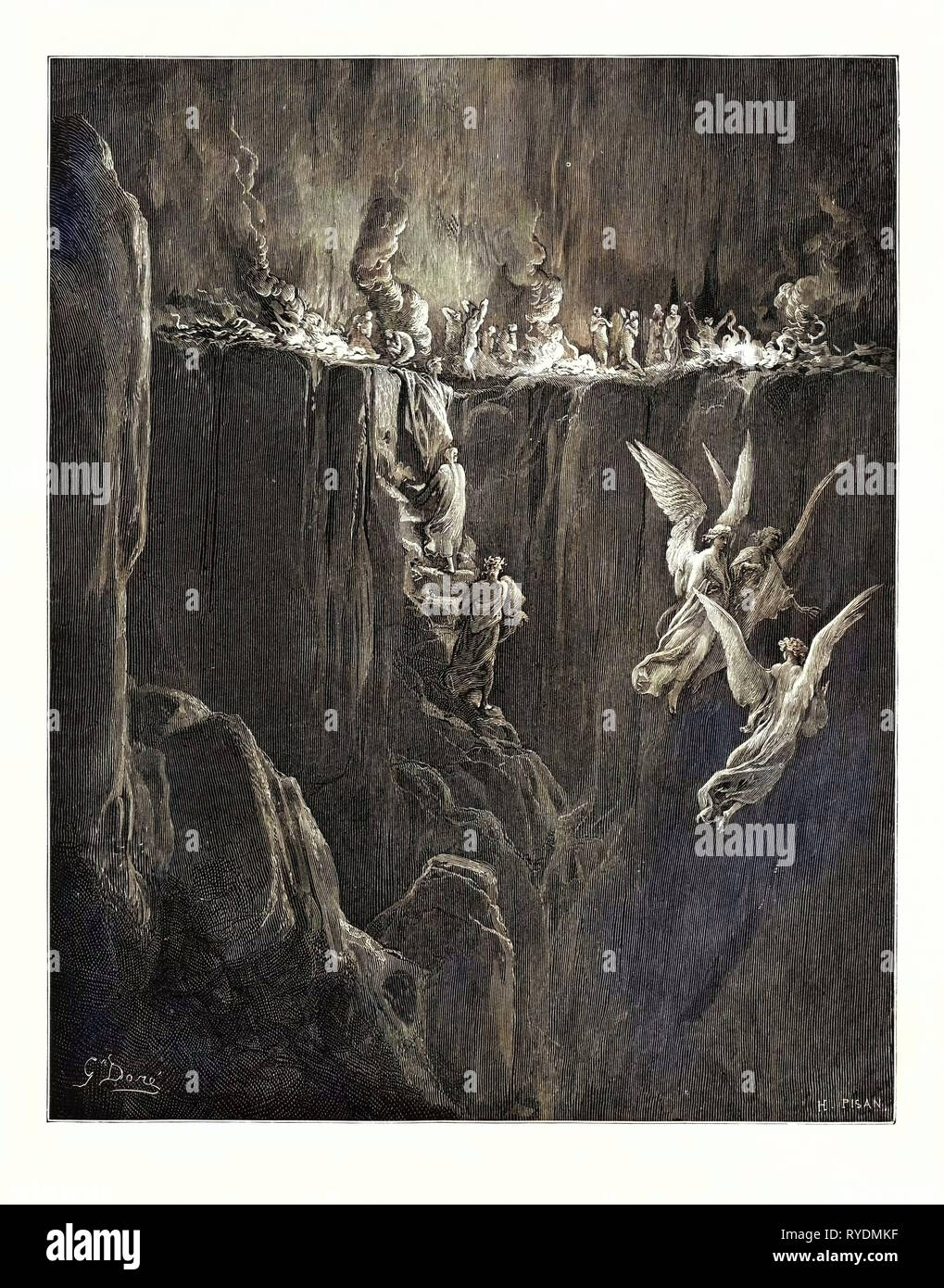 The Perilous Pass on the Eight Cornice of Purgatory, by Gustave Doré, 1832 - 1883, French. Engraving for the Purgatorio or Purgatory by Dante Alighieri. 1870, Art, Artist, Romanticism, Colour, Color Engraving Stock Photo