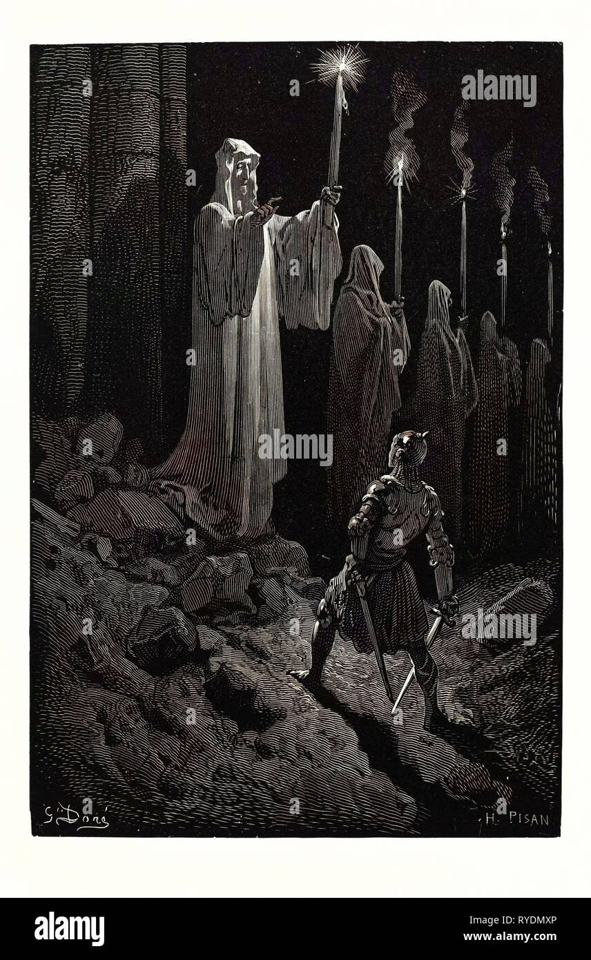 The Corpse Candles, by Gustave Doré. A Scene from the Legend of Croquemitaine, by Thomas Hood the Younger. 1832 - 1883, French, 1870, Art, Artist, Romanticism, Colour, Color Engraving - Stock Image