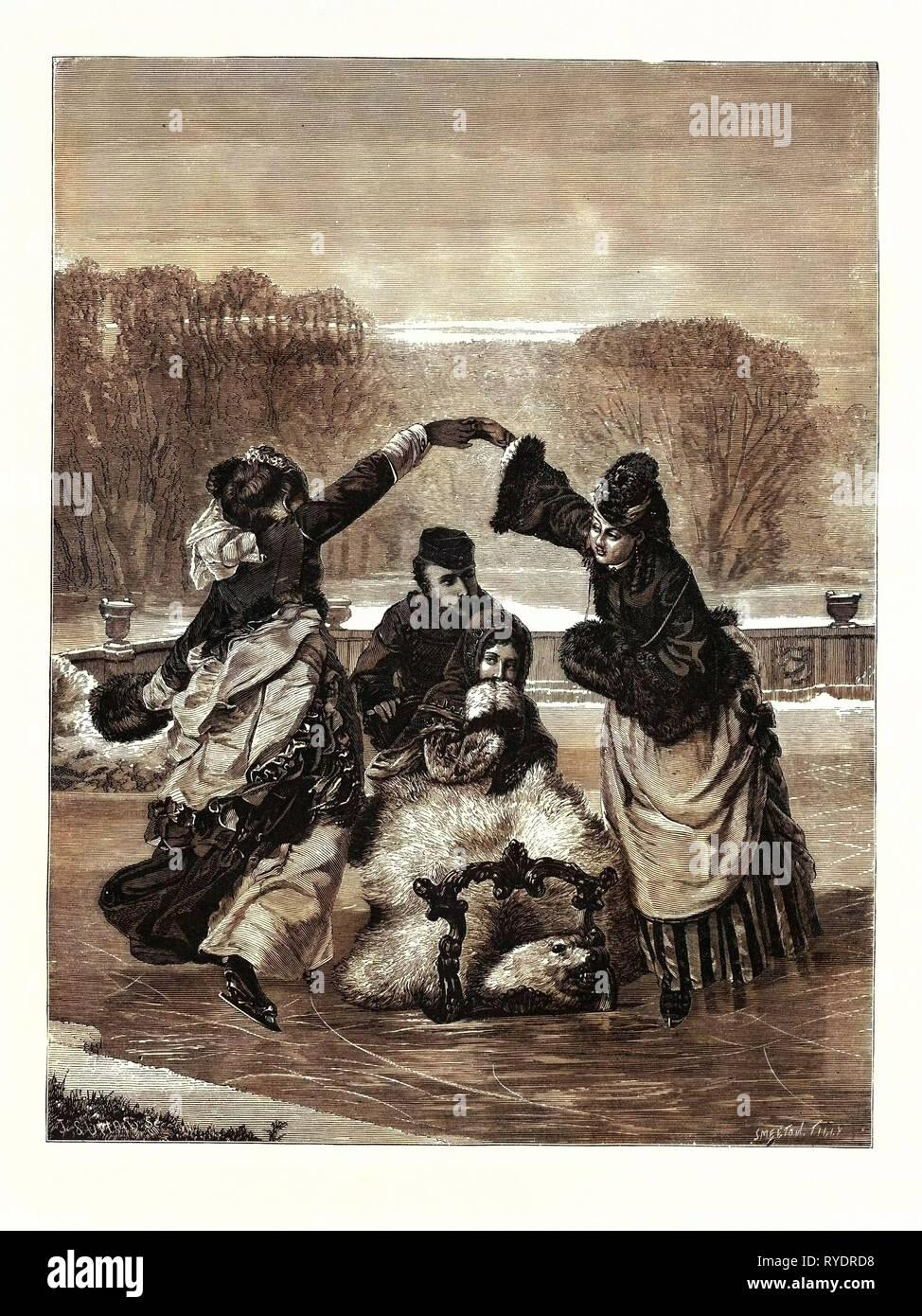 Winter Pastimes, Skating - Stock Image