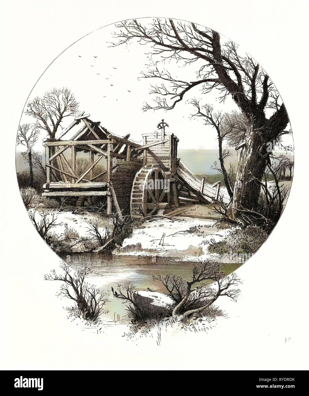 Winter. The Trees Stand Shivering in the Frosty Air, on the Branch and Bank Lies Thick the Clinging Snow. A Wreck, Beyond Repair, the Old Mill Seems - Stock Image
