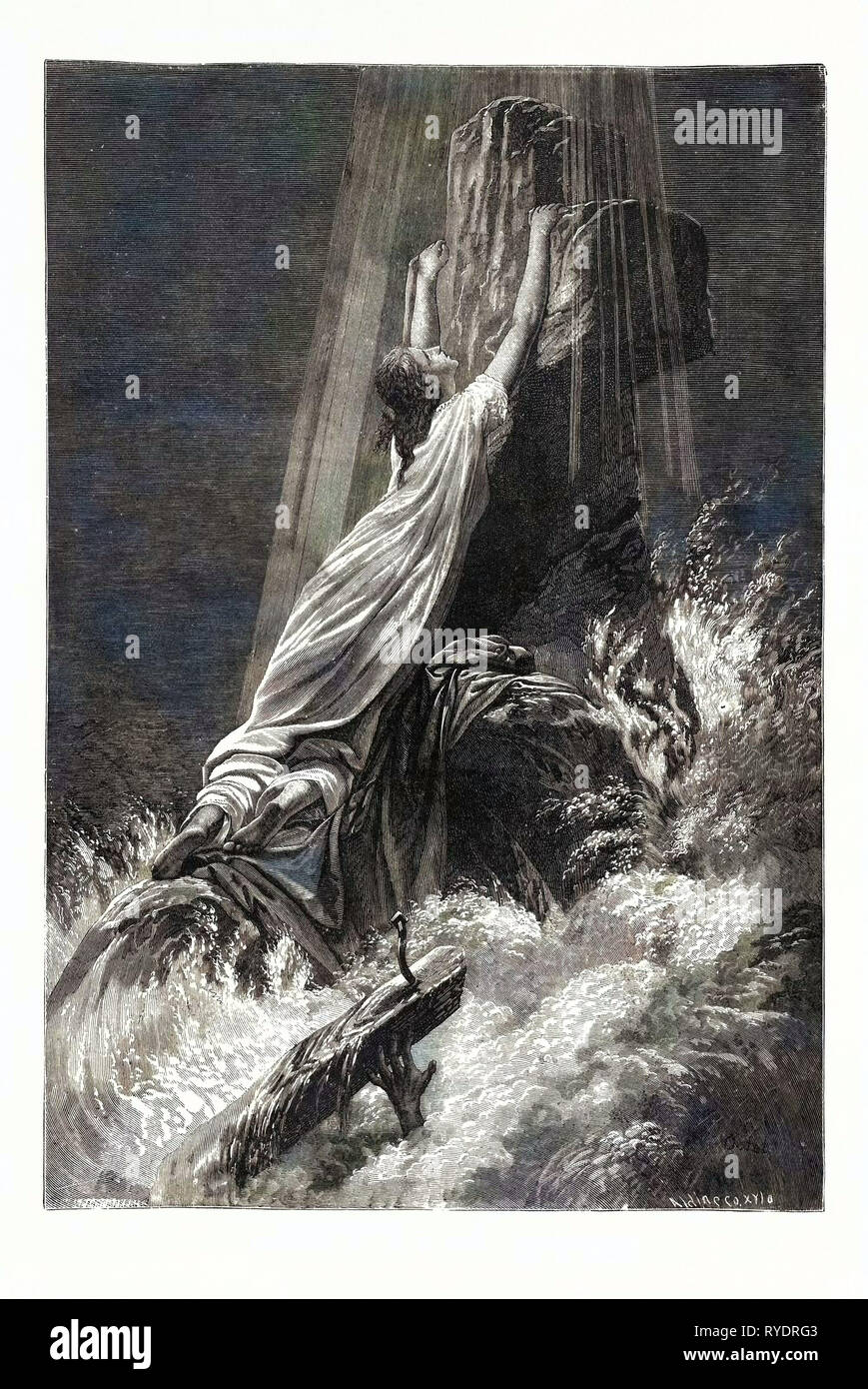 Saved and Lost. Religious Print - Stock Image