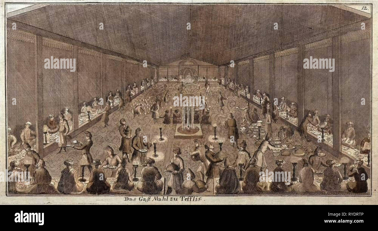 Large Dinner in Tbilisi, Tiflis, Food and Drink, Historical Engraving, Liszt Gourmet Archive - Stock Image