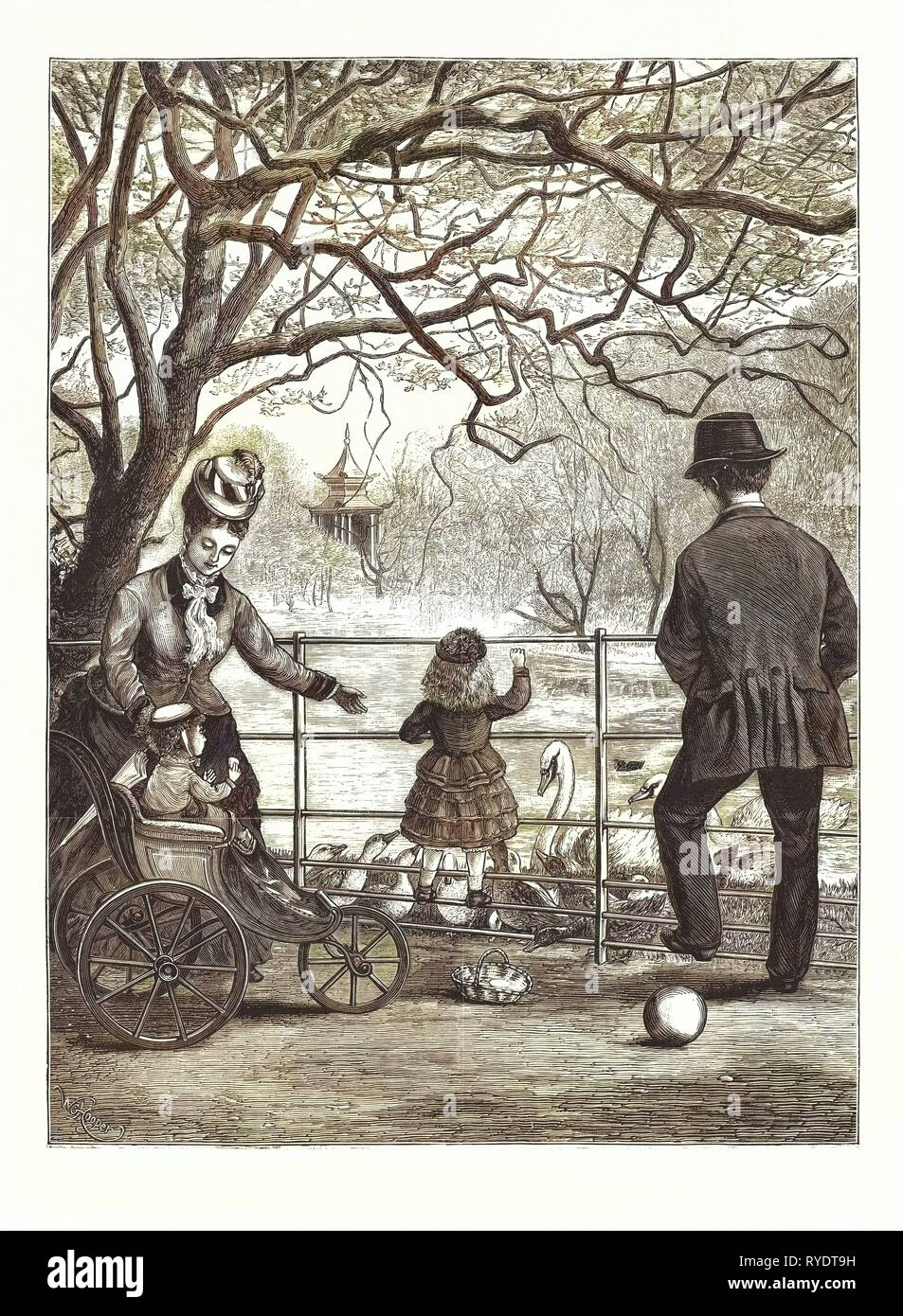 The Easter Holidays: Feeding the Water-Fowl in Victoria Park, London, Engraving 1876, UK, Britain, British, Europe, United Kingdom, Great Britain, European - Stock Image