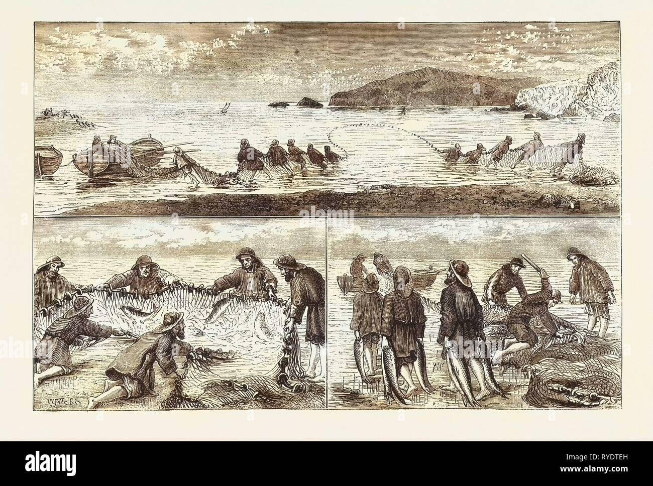 Salmon Fishing: Fishing Salmon, Mouth of the River Tivey, Cardiganshire, Hailing in the Seine Net, Clubbing the Fish, Carrying the Fish to the Boat, Engraving 1876, UK - Stock Image