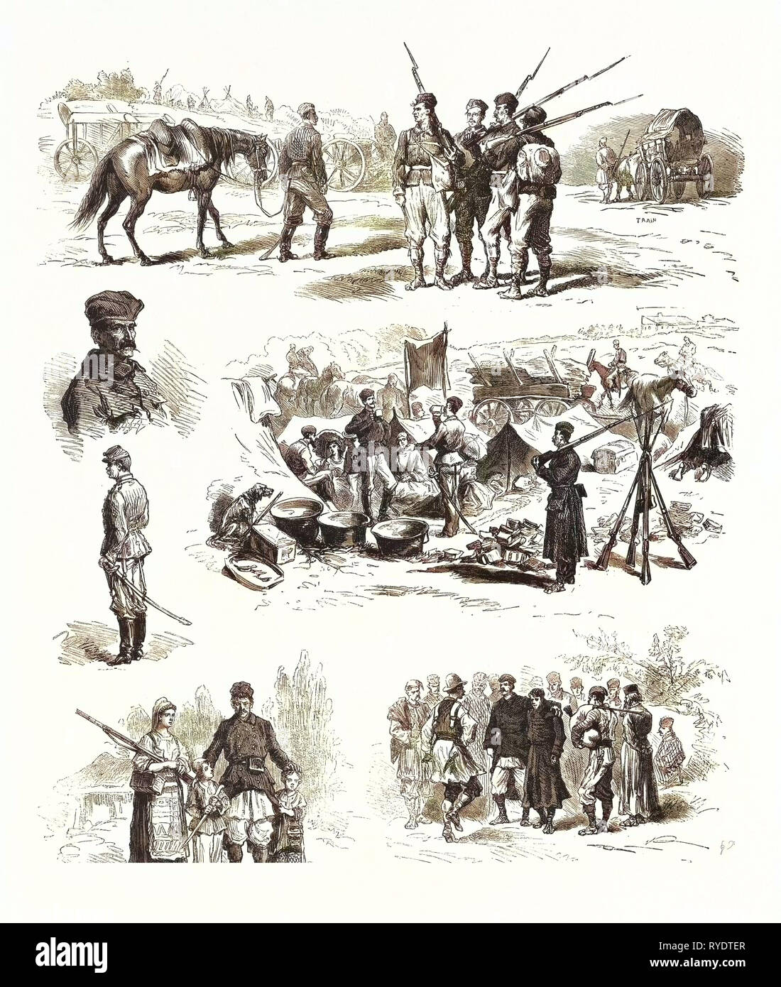 The Turco Servian War: Cavalry and Infantry of the Reserve Officers, the Camp Adieu Soldiers Dancing, Engraving 1876 - Stock Image