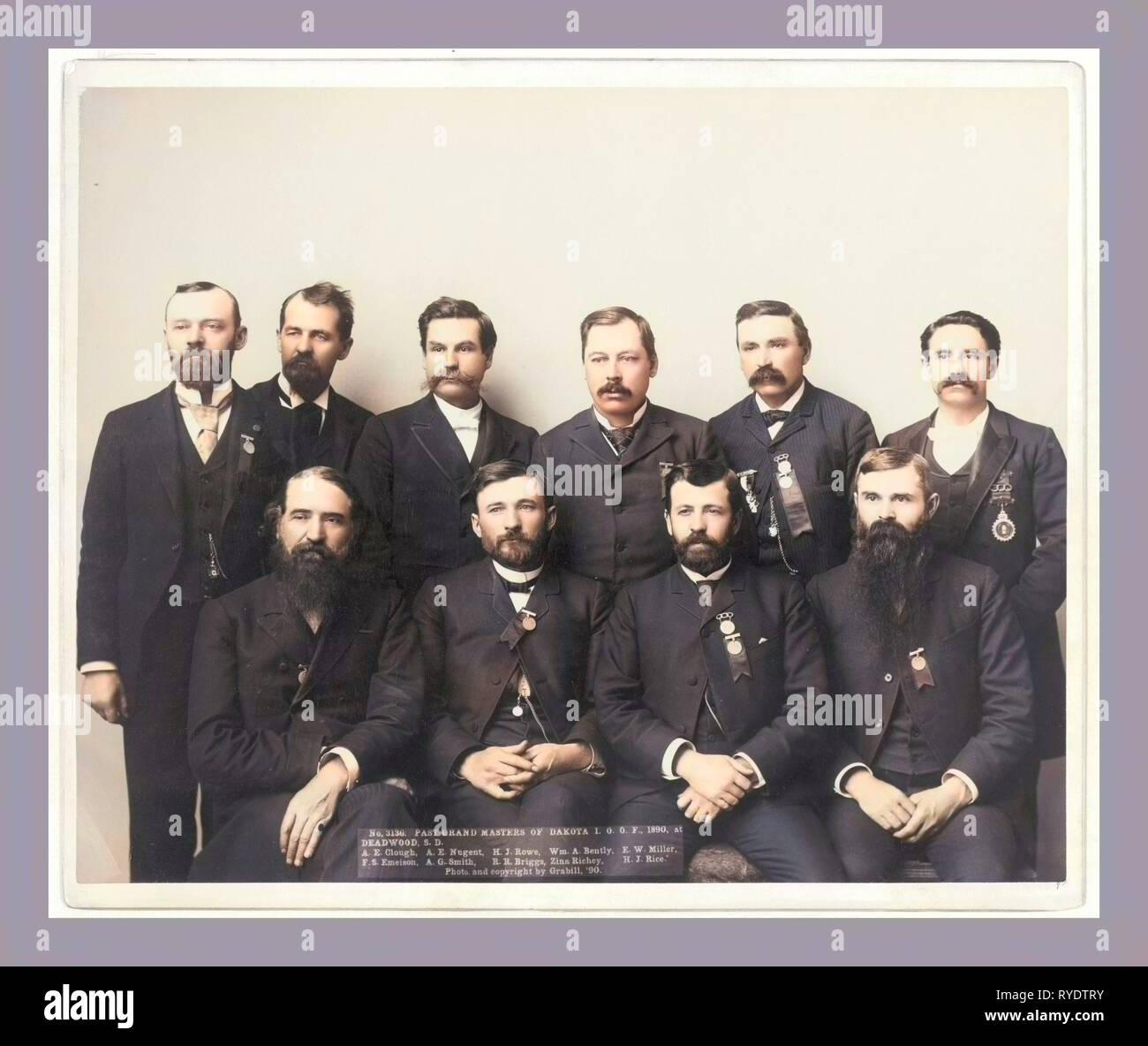 Past Grand Masters of Dakota I.O.O. F., 1890, at Deadwood, S.D. A.E. Clough, A.E.Nugent, H.J. Rowe, Wm. A. Bently, F.W. Miller, F.S. Emeison. A.G. Smith, R.R. Briggs, Zina Richey, H.J. Rice - Stock Image