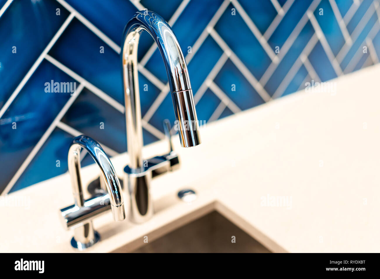 New Modern Faucet And Kitchen Sink Closeup With Countertop ...