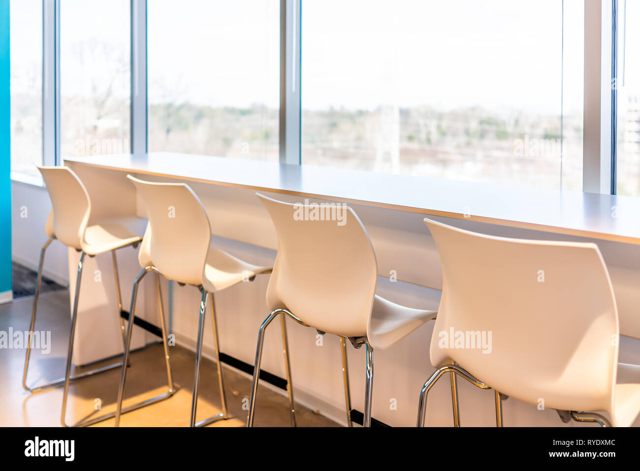New Modern Office Room Lunch Kitchen Bar In Building With Wooden Corporate Business Table Closeup By Glass Window And Many Row Chairs Empty Nobody Stock Photo Alamy
