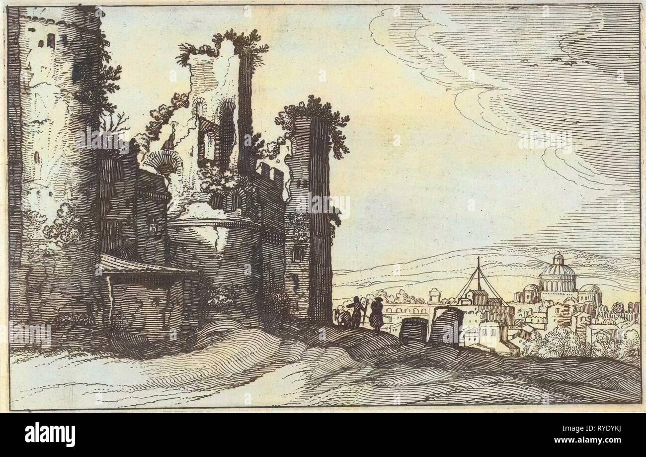 View of Rome from Monte Pincio, The Netherlands, Willem van Nieulandt (II), Anonymous, Claes Jansz. Visscher (II), 1618 - Stock Image