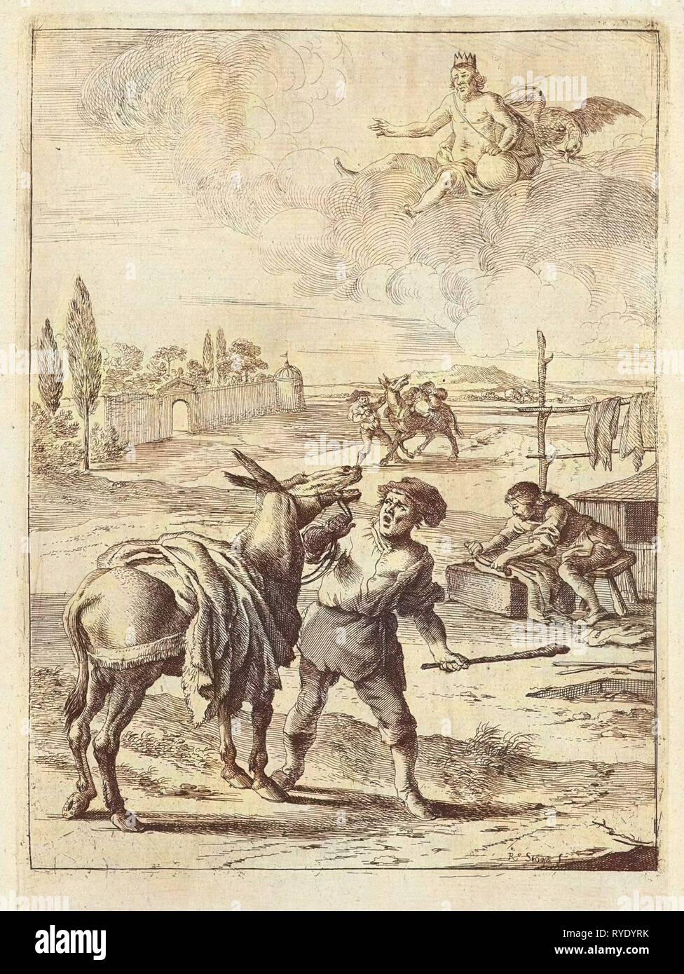 Myth of Jupiter and the donkey, Dirk Stoop, John Ogilby, 1665 - Stock Image