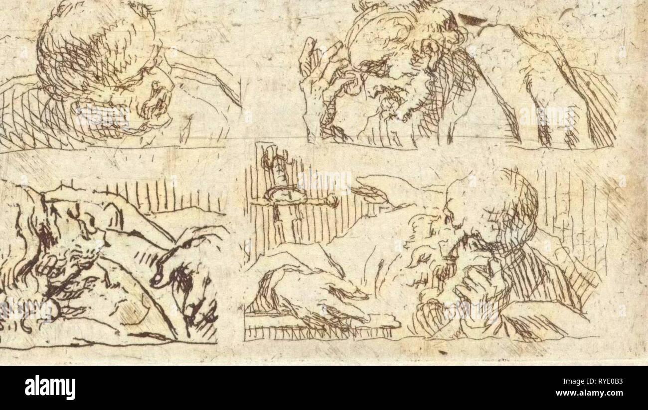 Six studies of heads of apostles, Cornelis Schut (I), 1618 - 1655 - Stock Image