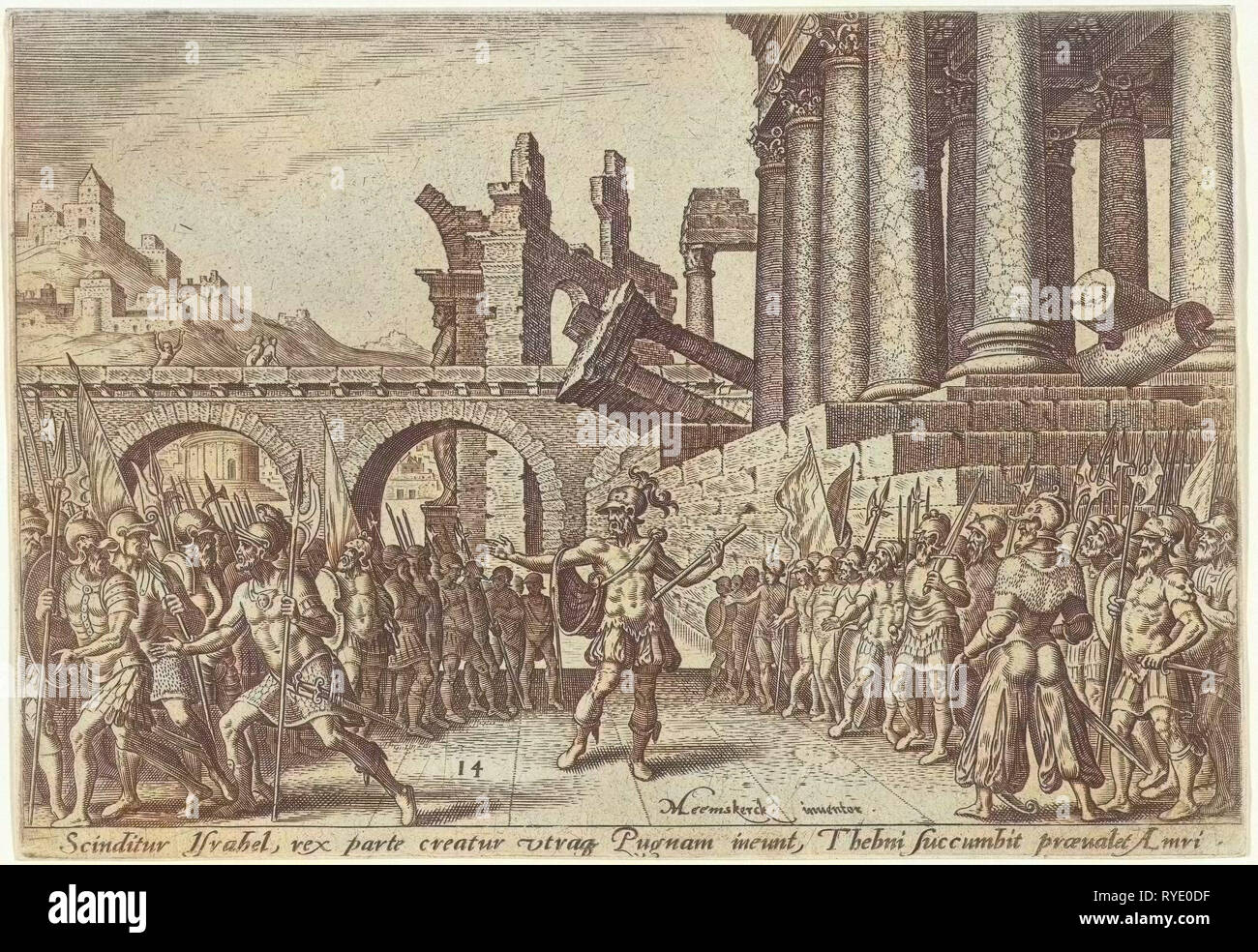 The people of Israel divided between Omri and Tibni, Philips Galle, 1569 - Stock Image