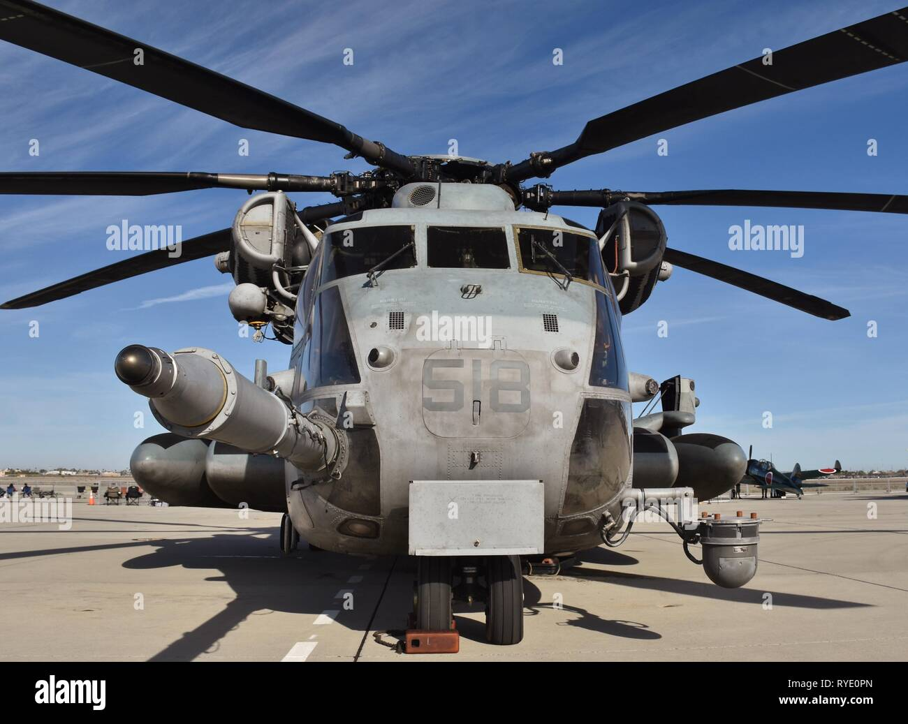A Marine Corps Sikorsky CH-53E Super Stallion on the runway at MCAS Yuma. Stock Photo