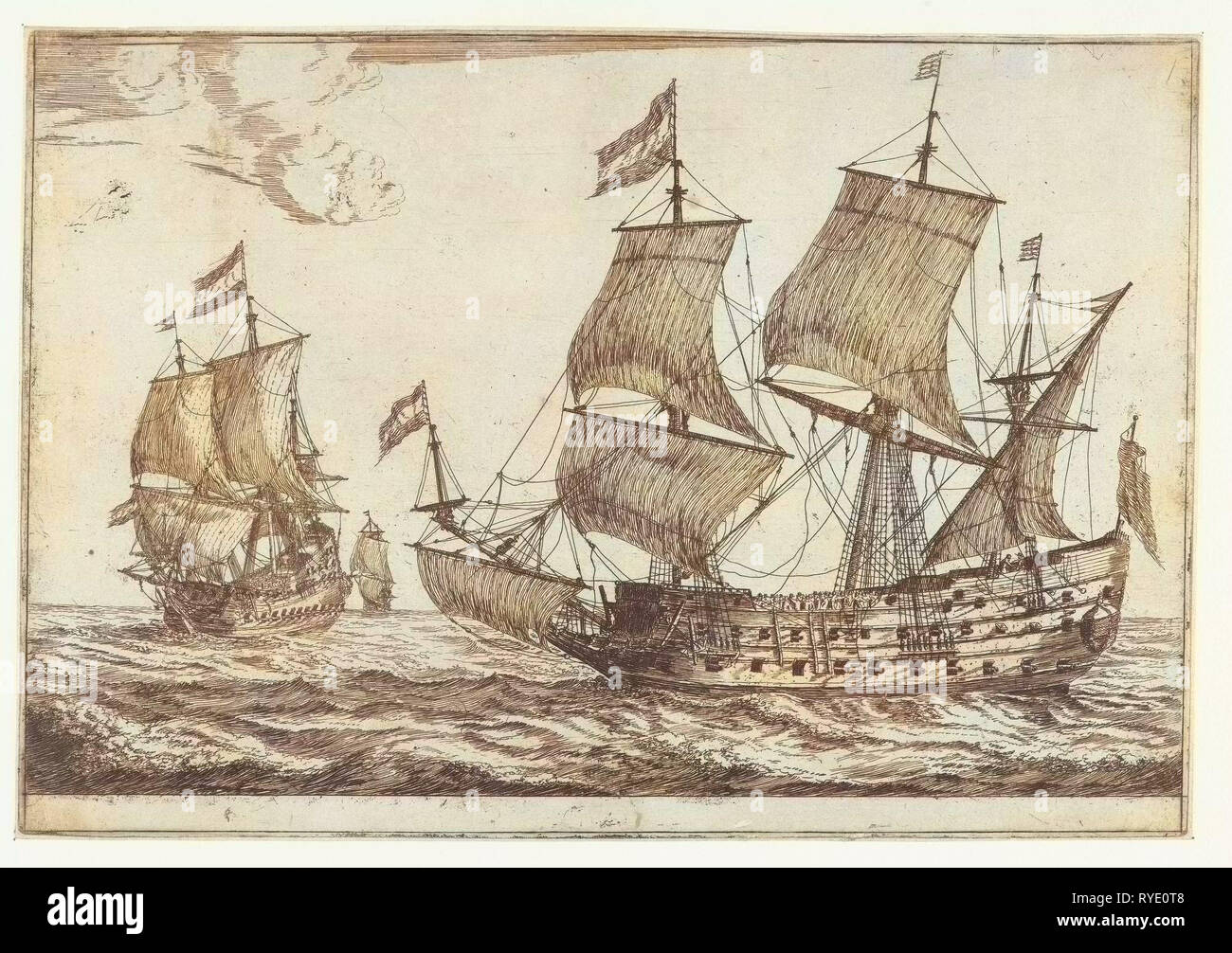 Two large warships, Reinier Nooms, 1650 - 1664 - Stock Image
