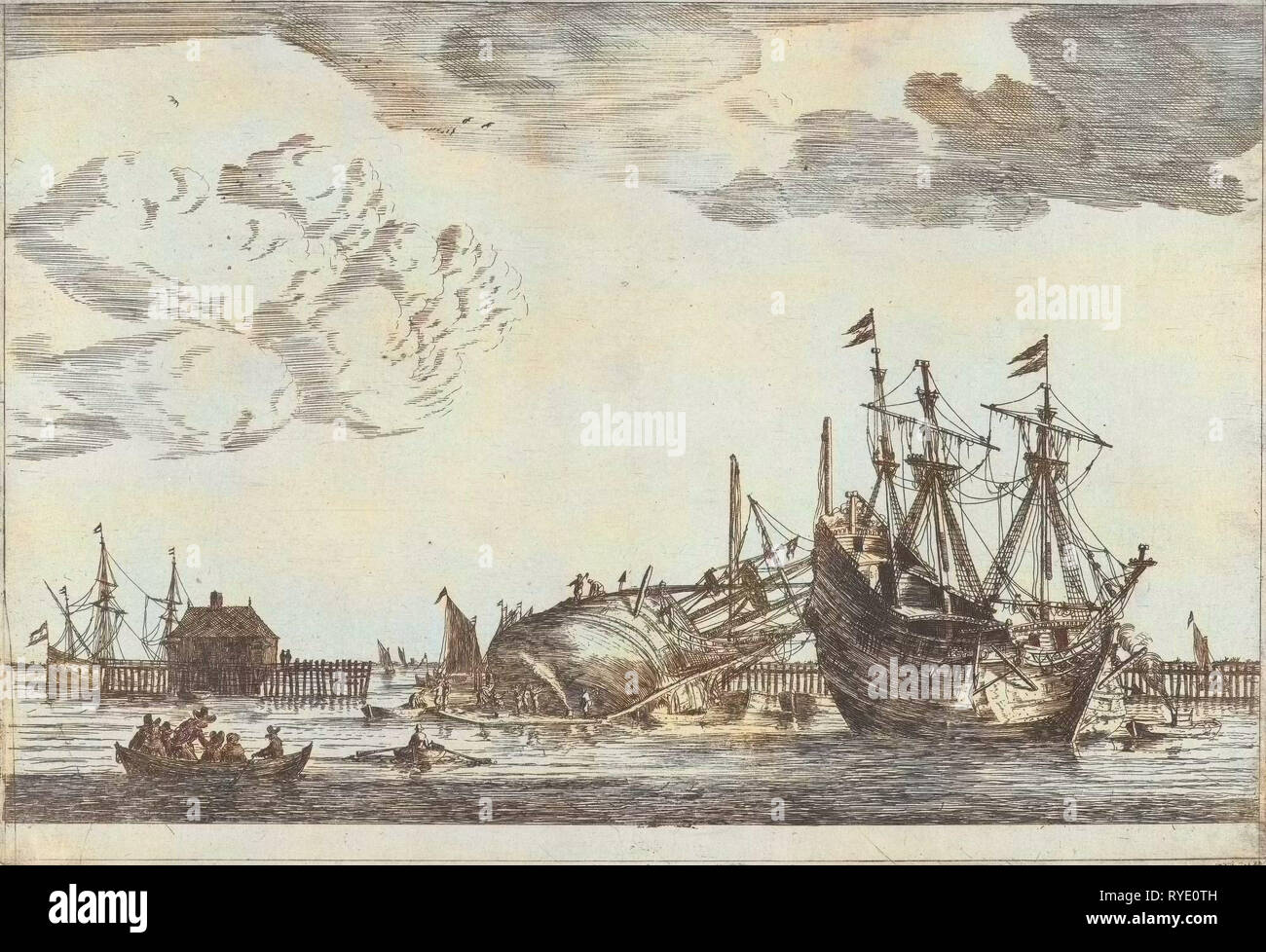 Two ships are ready for repair, Reinier Nooms, 1650 - 1664 - Stock Image