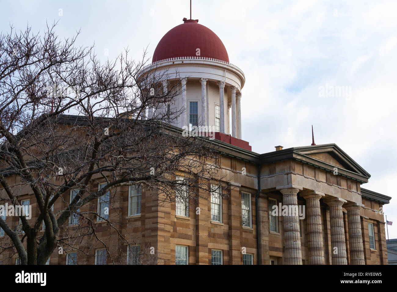 Exterior of the Old Capitol Building on a Spring morning.  Springfield, Illinois, USA. Stock Photo