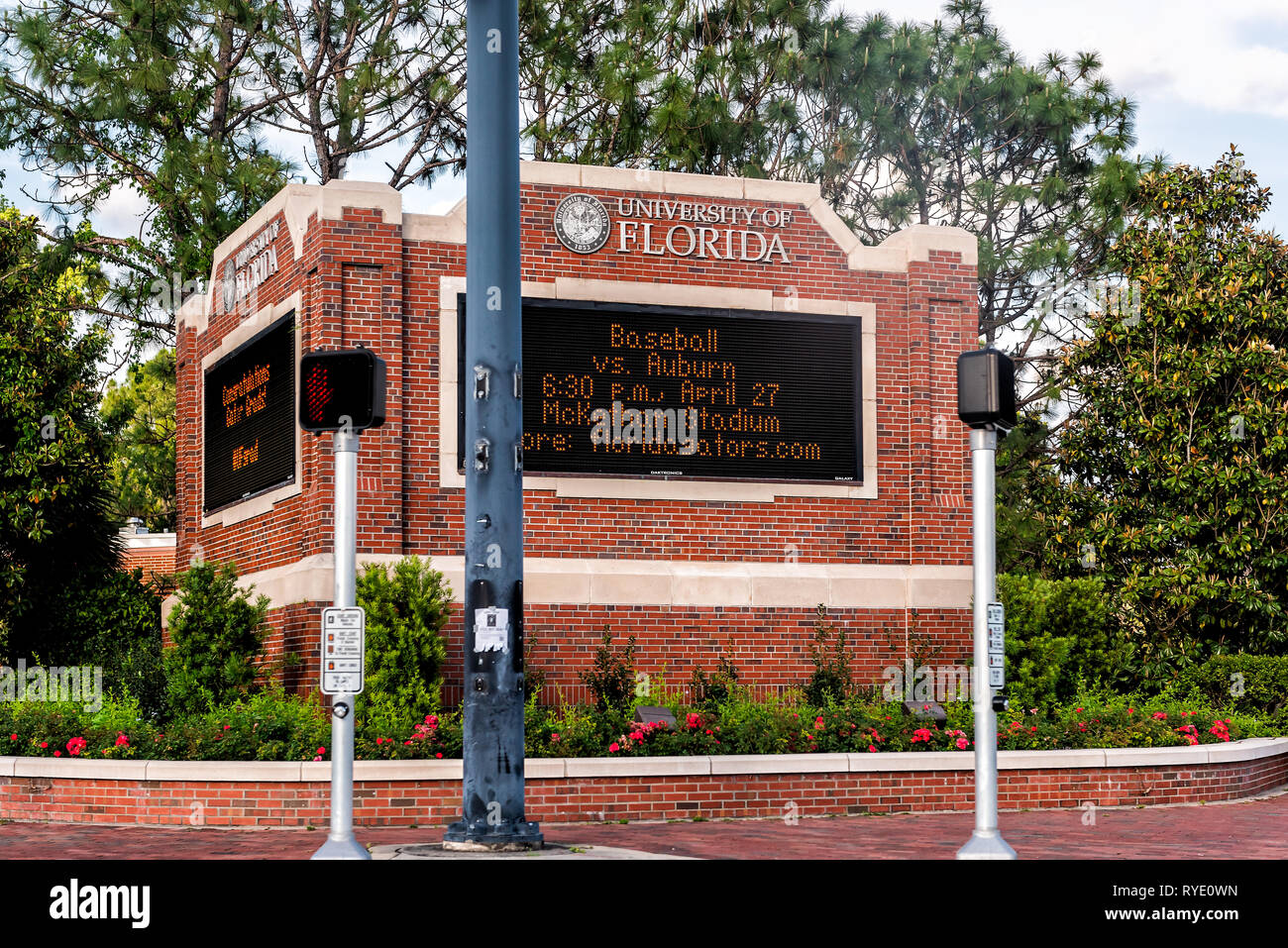 Gainesville, USA - April 26, 2018: Sign for entrance to UF University of Florida in central state with sports baseball - Stock Image