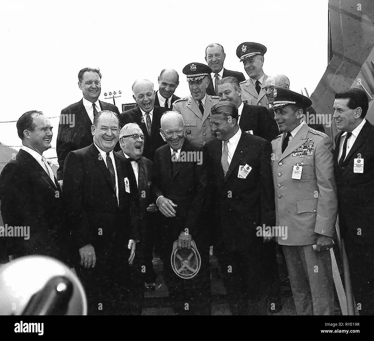 President Dwight D. Eisenhower and MSFC Director Dr. Wernher von Braun share a joke as other dignitaries look on. Eisenhower was visiting Marshall to participate in the September 8, 1960 dedication ceremony. - Stock Image