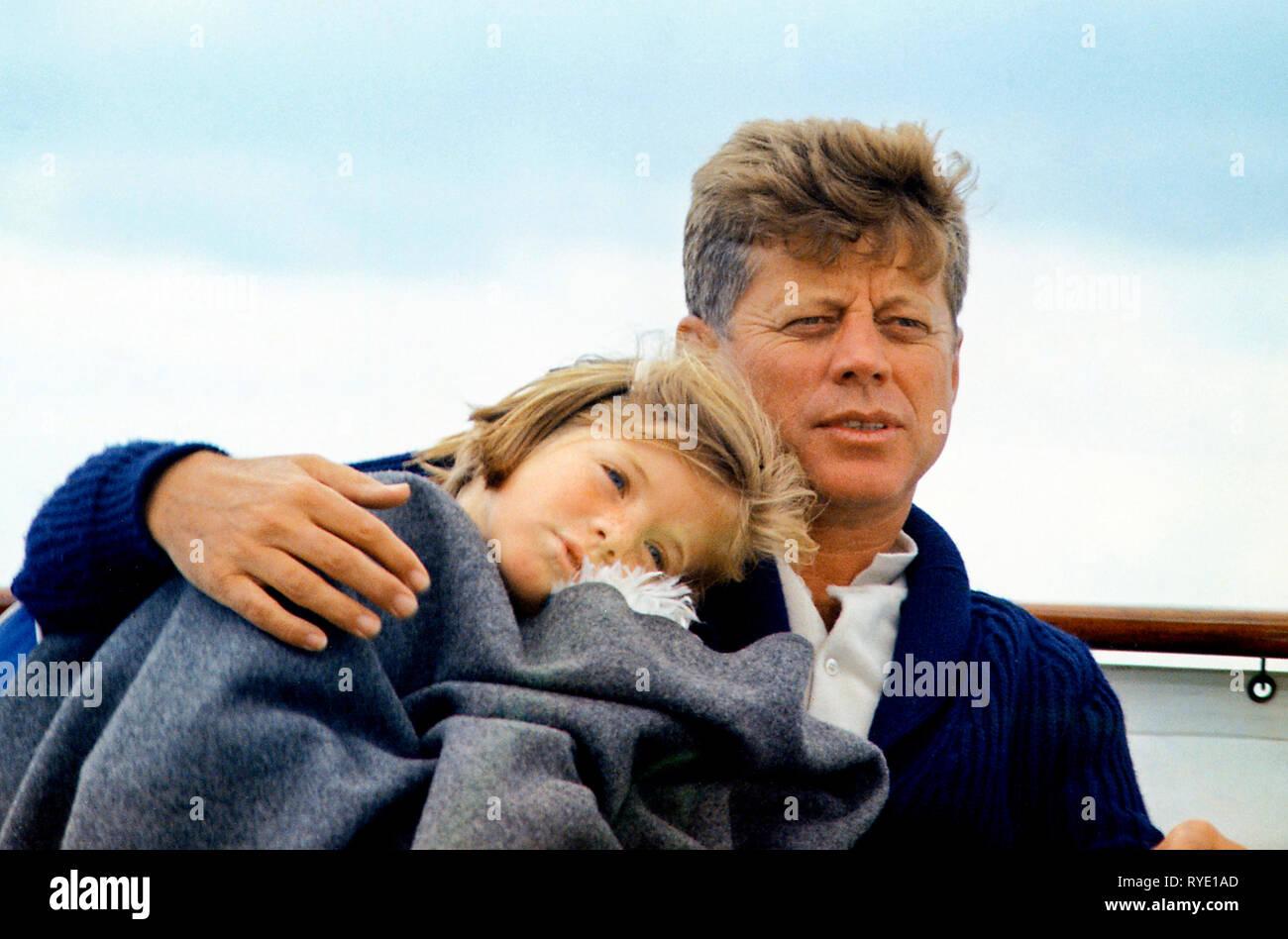 JFK with Caroline on the Honey Fitz, 1963 - Stock Image