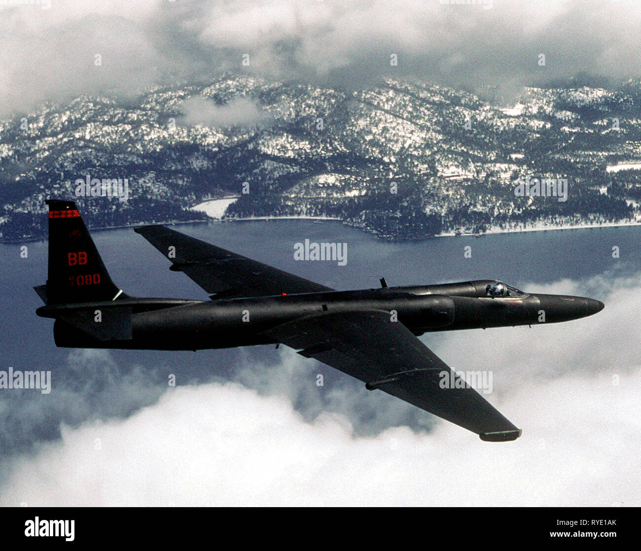 Right side view of a U-2 reconnaissance aircraft in flight. 1966 - Stock Image