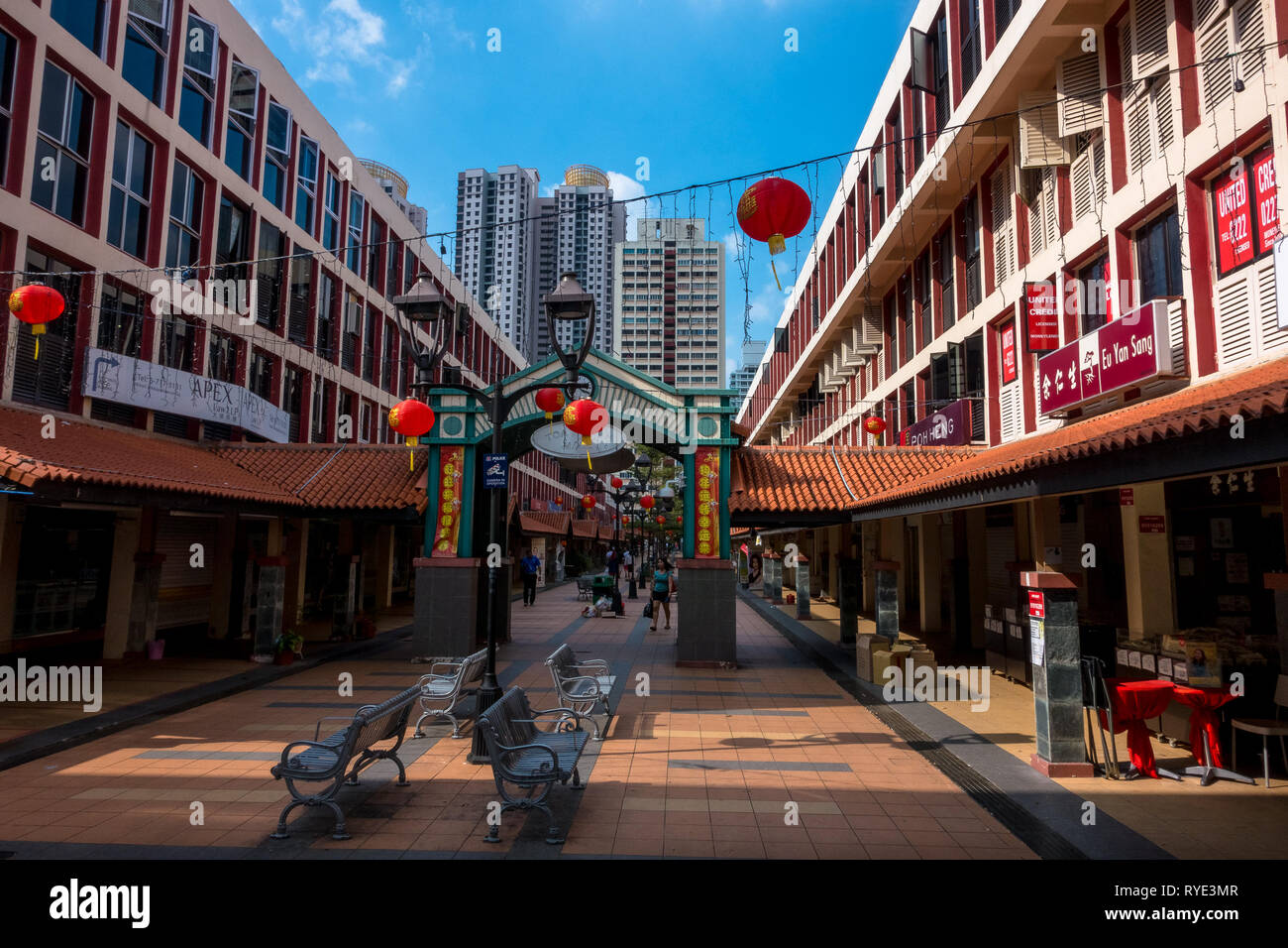Toa Payoh Outdoor Mall Shops With Chinese New Year Lanterns - Singapore - Stock Image