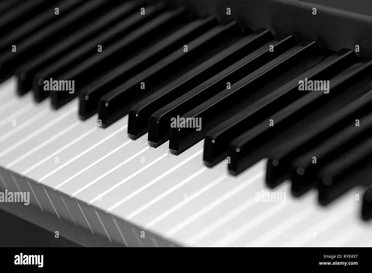 Black and white electric piano keys - Stock Image