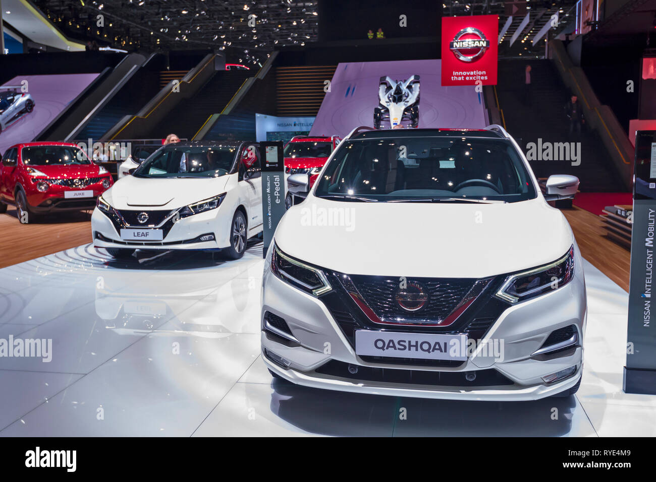 Geneva / Switzerland - march 9 2019 : Geneva International Motor Show, Nissan Qashqai - Stock Image