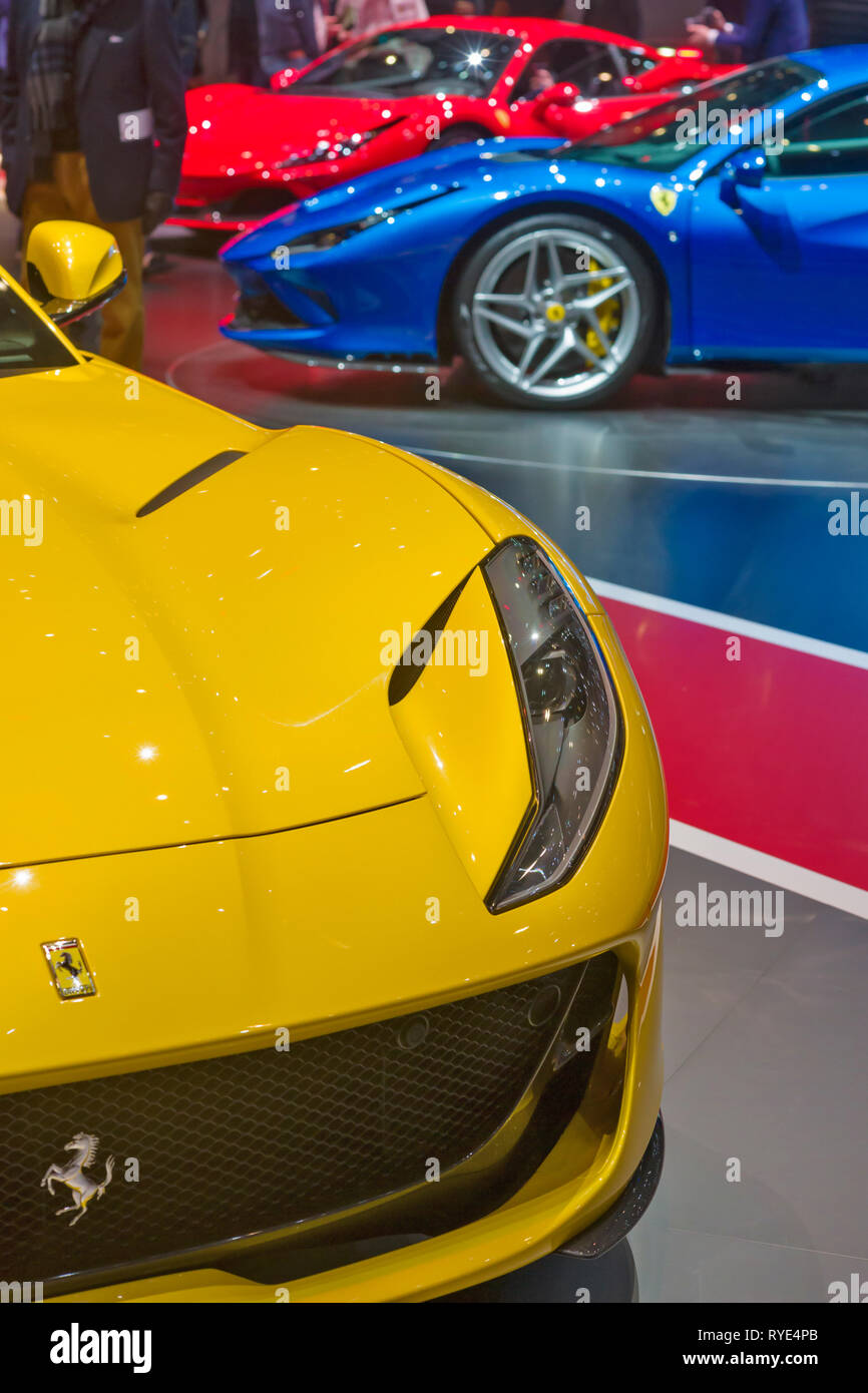 Geneva / Switzerland - march 9 2019 : Geneva International Motor Show, new Ferrari F8 Tributo - Stock Image