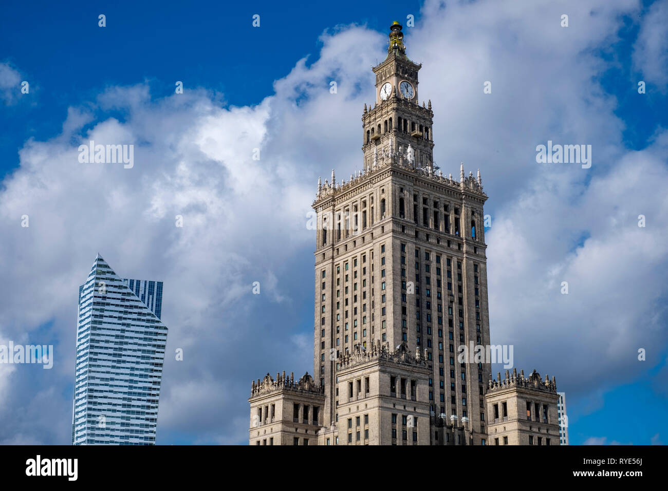 "The Palace of Culture or ""Palac Kultury"" in downtown Warsaw, Poland, an example of the Socialist Realist architectural style Stock Photo"