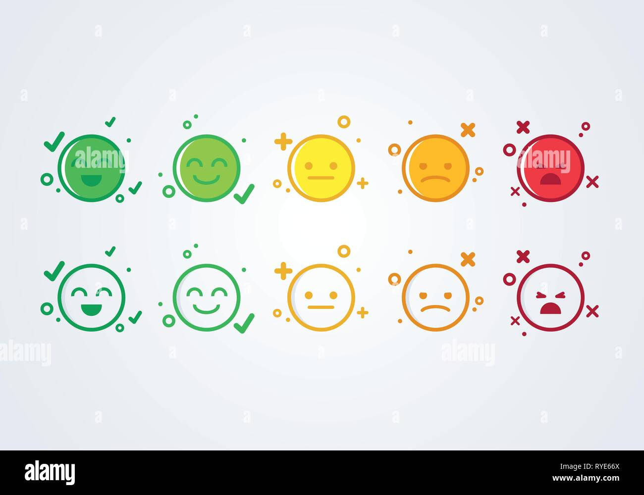 vector illustration user experience feedback concept different mood smiley emoticons emoji icon positive, neutral and negative. - Stock Image
