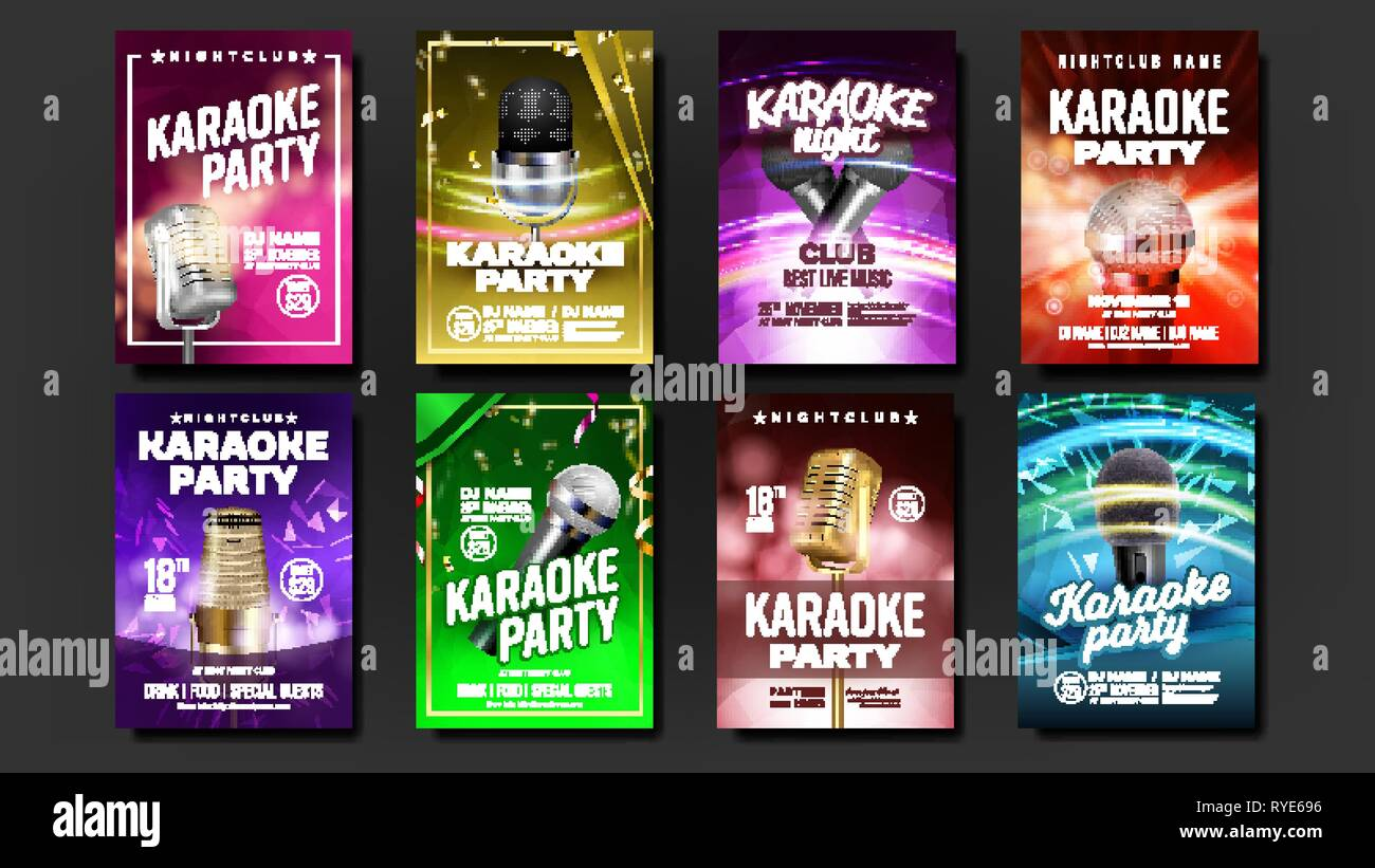 Karaoke Poster Set Vector  Music Night  Sing Song  Dance Event