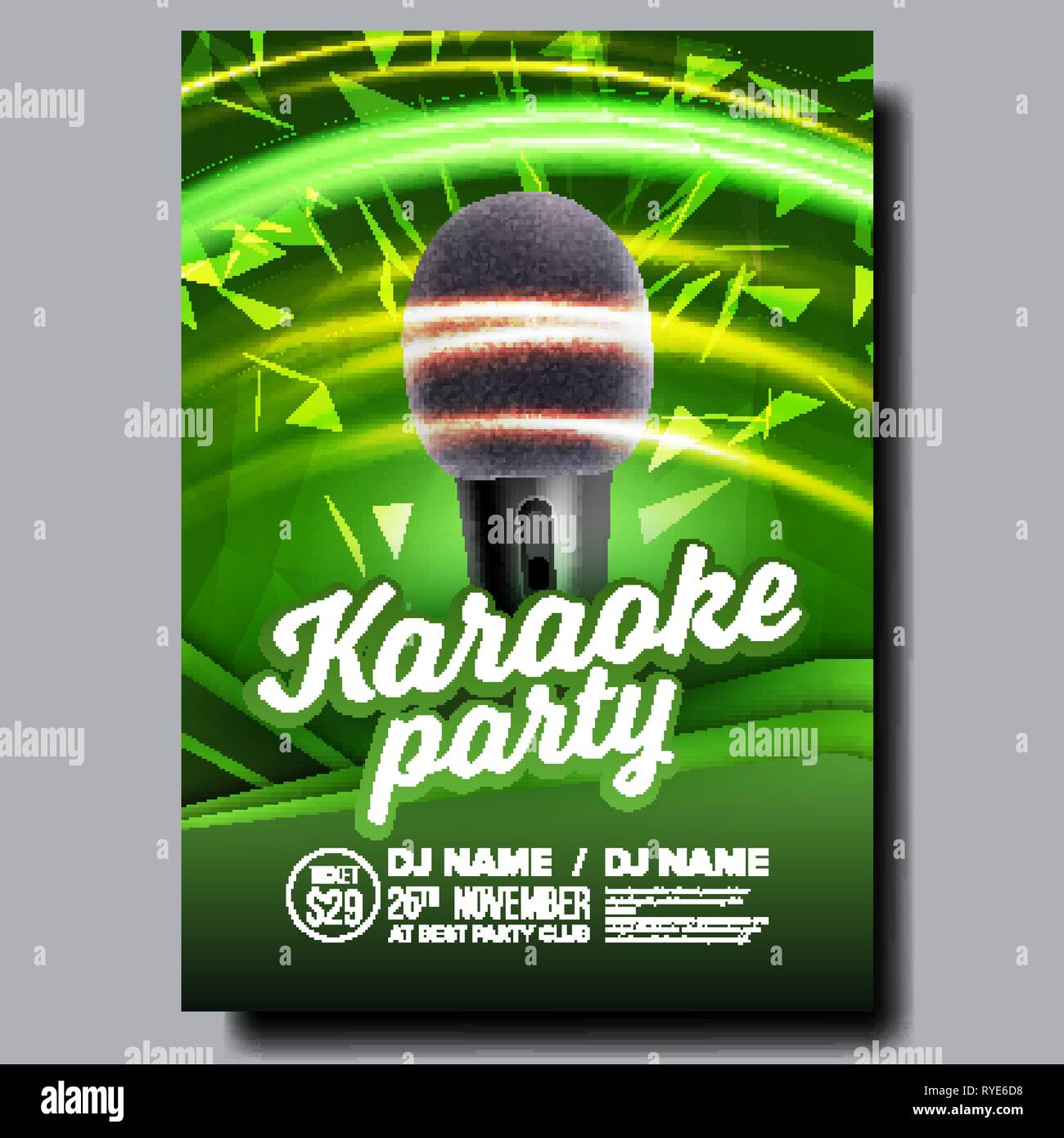 Karaoke Poster Vector  Disco Banner  Karaoke Voice Equipment  Sing