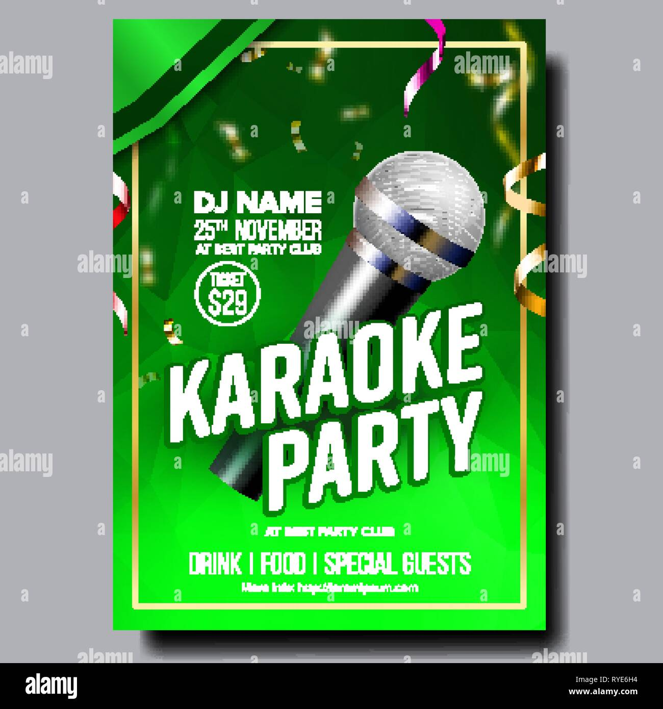 Karaoke Poster Vector. Retro Concert. Karaoke Club Background. Mic Design. Creative Layout. Audio Element. Speaker Label. Entertainment Competition - Stock Vector