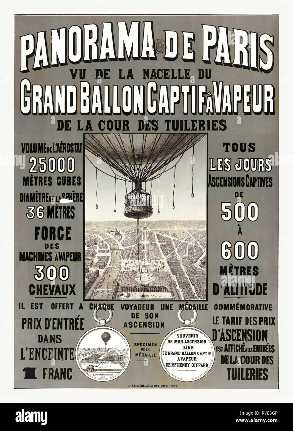 Bird's Eye View of Paris to Advertise Balloon Ascensions at the 1878 World's Fair, France, and the Basket of Henri Giffard's Captive Balloon, 1878 - Stock Image
