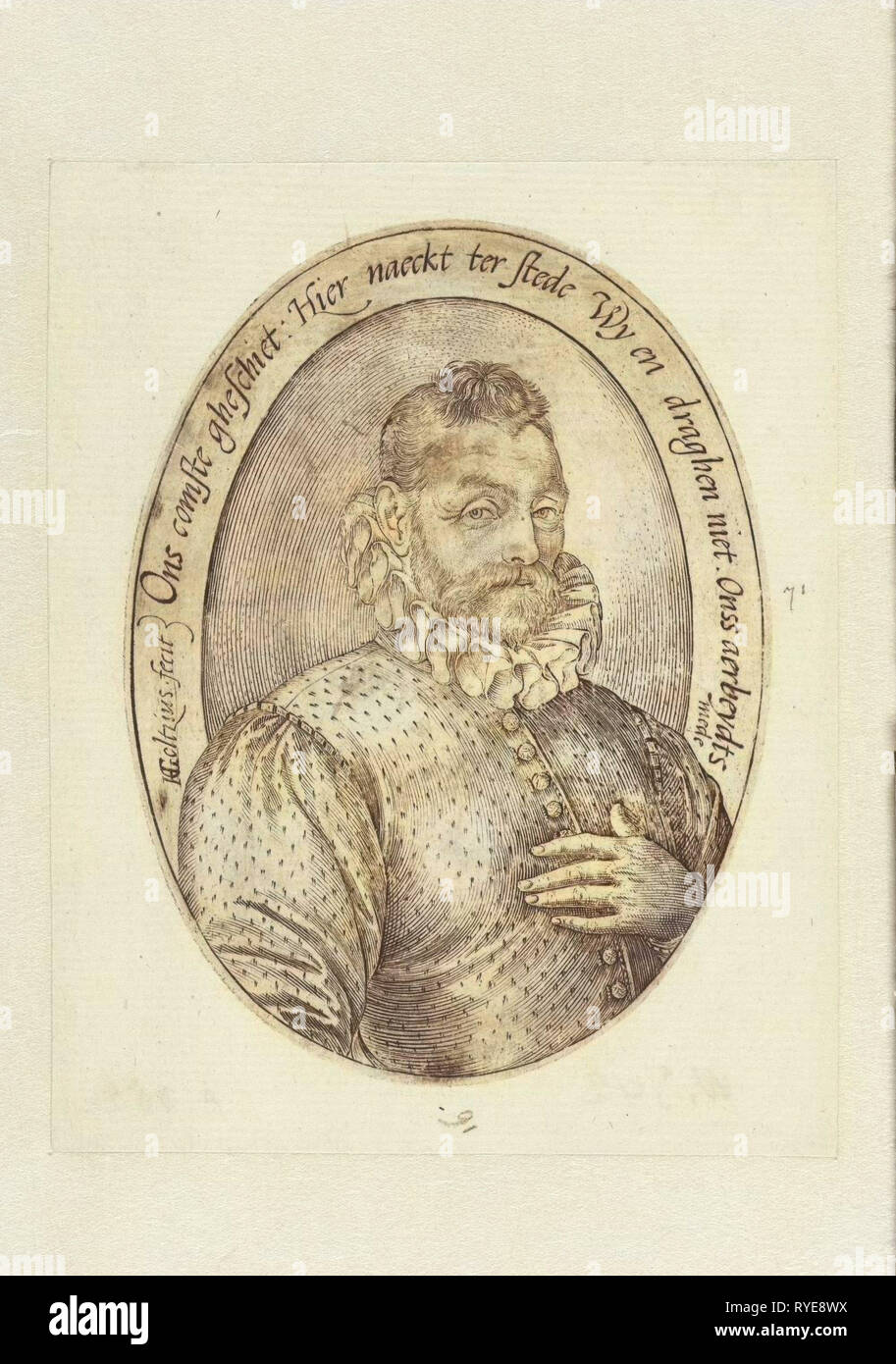 Oval man portrait at Half length, the left hand on the chest, with pleated collar and buttoned his jacket on the chest. inscription in Dutch. Counterpart of similar portrait of a woman, print maker: Hendrick Goltzius (mentioned on object), Dating 1581 - 1585 - Stock Image