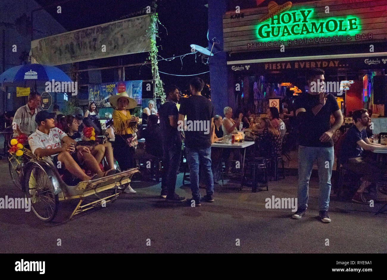 Tourists in bars at Love Lane,George Town,Penang,Malaysia,Asia - Stock Image