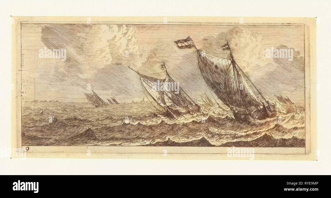 Ferries on a rough sea, Reinier Nooms, 1651 - 1652 - Stock Image